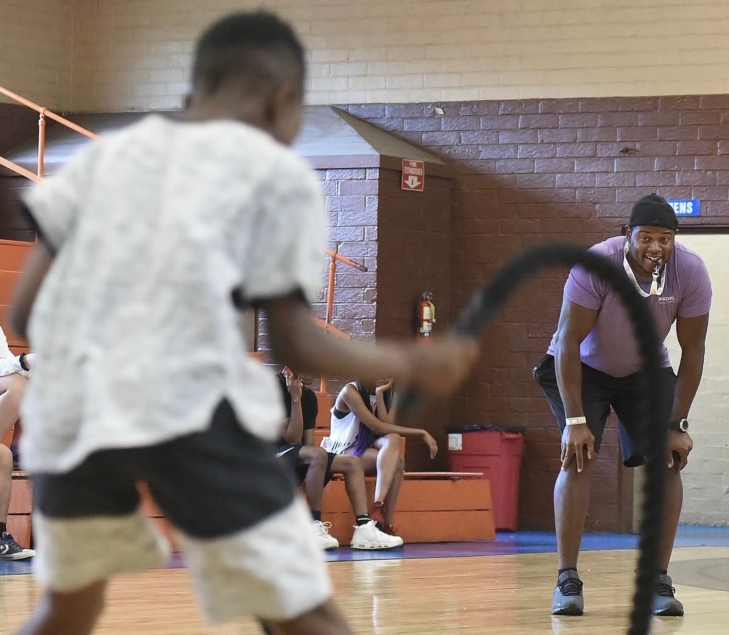 Certified sports performance coach, personal trainer, and Cartersville High graduate A.T. Barnes, right, was on hand to instruct the Track and Fitness camp at the J.H. Morgan Gym June 5 to 7.