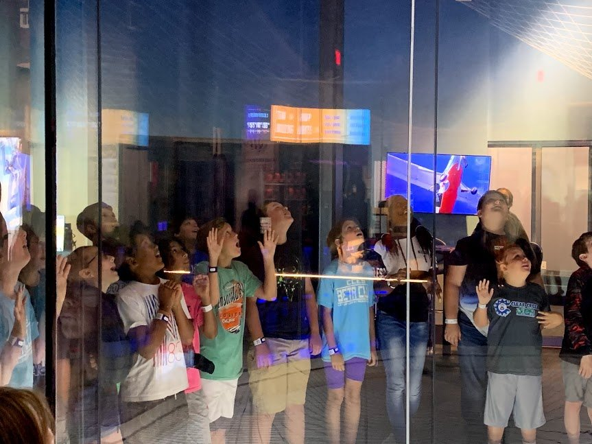 The fourth- and fifth-grade students from Clear Creek Elementary School were enthralled by the flight demonstration in the wind tunnel at iFly Atlanta last month.