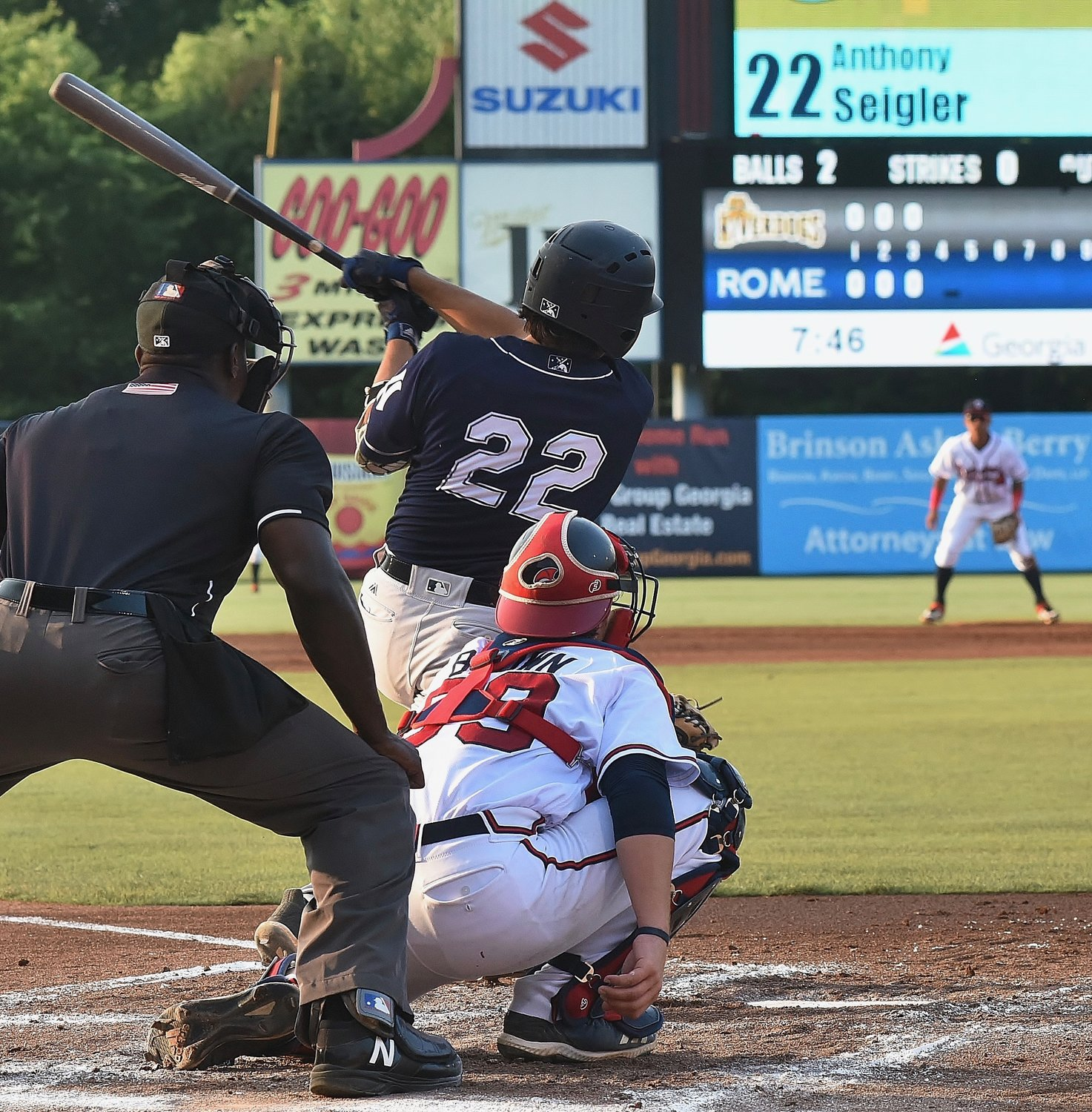 Former Cartersville High product Anthony Seigler made his season debut with the Charleston RiverDogs against the Rome Braves Monday at State Mutual Stadium in Rome. Seigler went 0-for-3 against former Cy Young Award winner Dallas Keuchel, who was making his organizational debut after recently being signed by the Atlanta Braves.