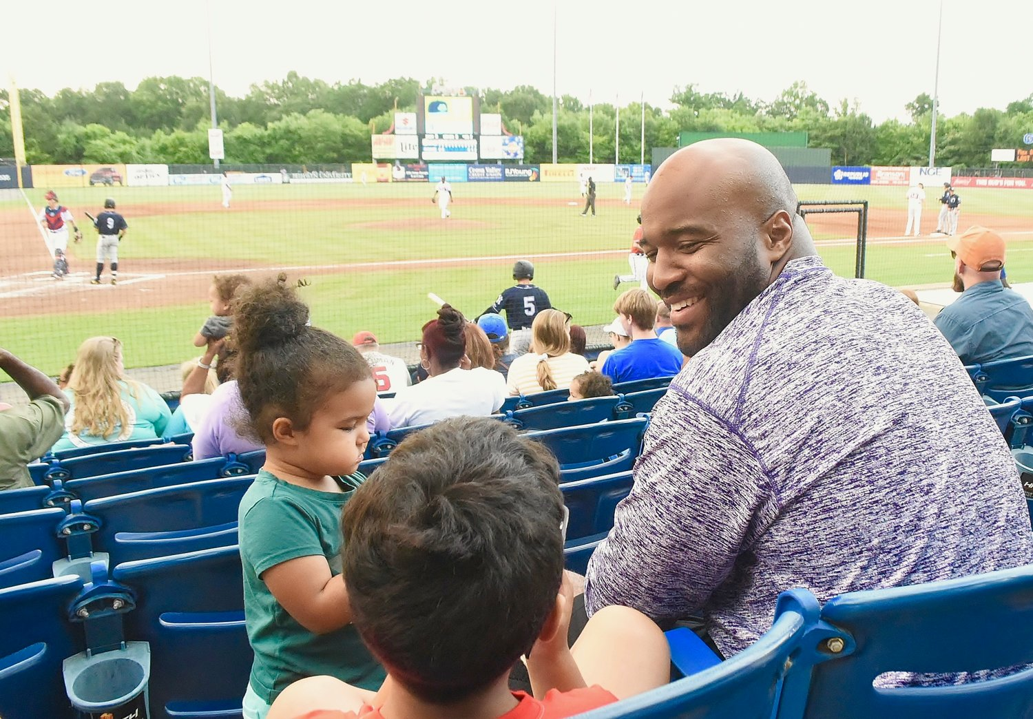 Cartersville High School co-offensive coordinator Reggie Perkins and his family were on hand at State Mutual Stadium in Rome Tuesday night to watch CHS alumnus Anthony Seigler play for the Charleston RiverDogs against the Rome Braves.