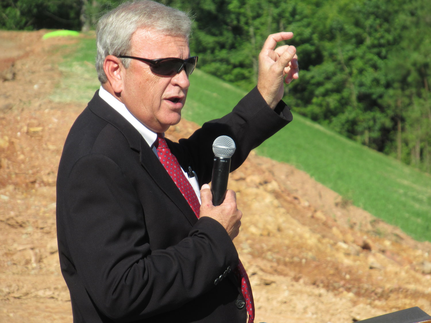 Bartow County Commissioner Steve Taylor speaks at Friday morning's groundbreaking ceremony for the Chick-fil-A Supply distribution center off Cass-White Road.