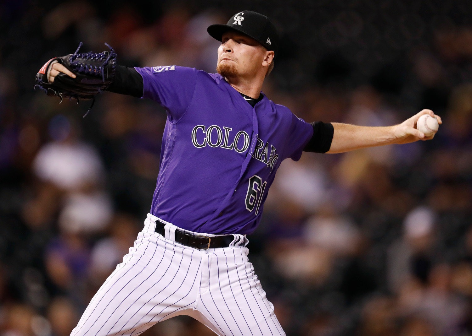 Colorado Rockies relief pitcher Sam Howard works against the Arizona Diamondbacks in the ninth inning of an MLB game Sept. 10, 2018, in Denver. The Cartersville High product posted two scoreless outings over the past week, lowering his season ERA to 4.24 for the Triple-A Albuquerque Isotopes.