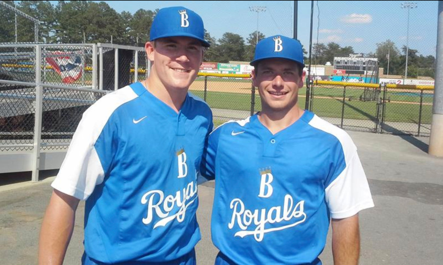 Cartersville native Elliott Anderson, left, and Drew Parrish pose for a photo after joining the Burlington Royals from their respective college programs, Auburn and Florida State. Anderson continues to dazzle on the mound for Burlington, having not allowed an earned run through his first six career appearances.
