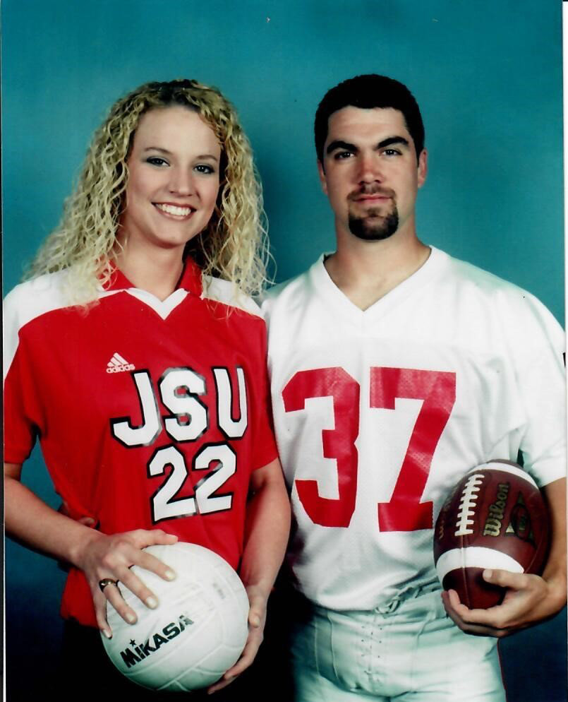 Amie Howard, left, and John Howard met in the late 1990s, during their time as student-athletes at Jacksonville State. They celebrate their 18th wedding anniversary Sunday.