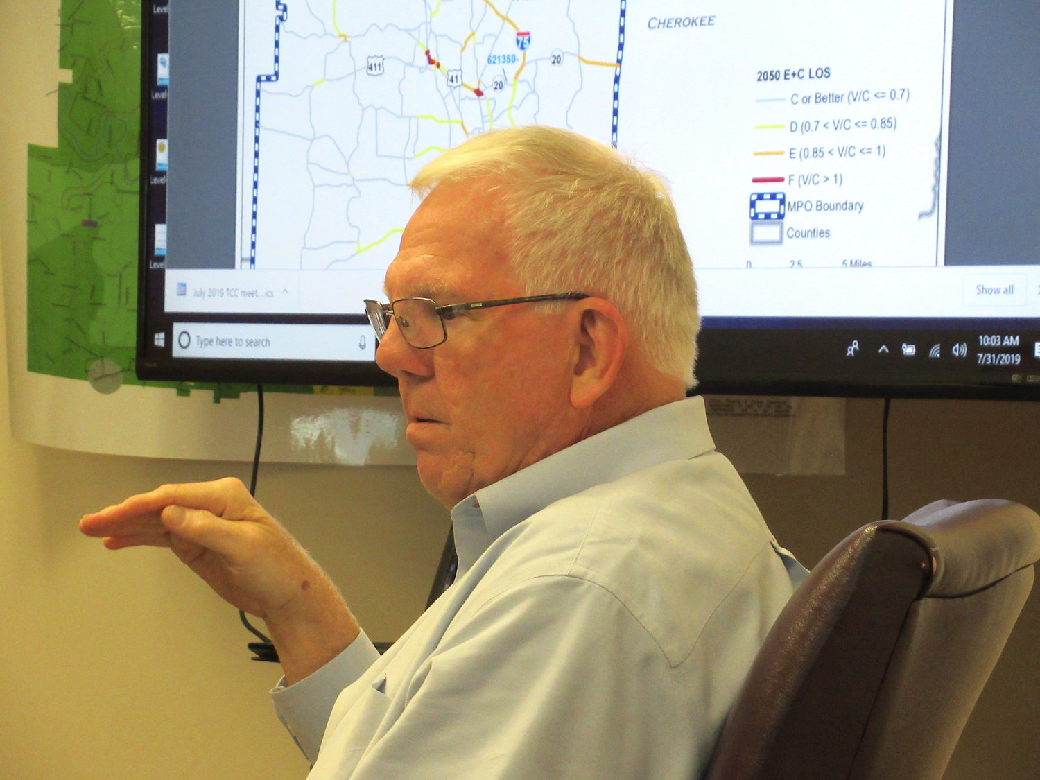 Bartow County Transportation Planner Tom Sills speaks at Wednesday morning's Cartersville-Bartow Metropolitan Planning Organization meeting.