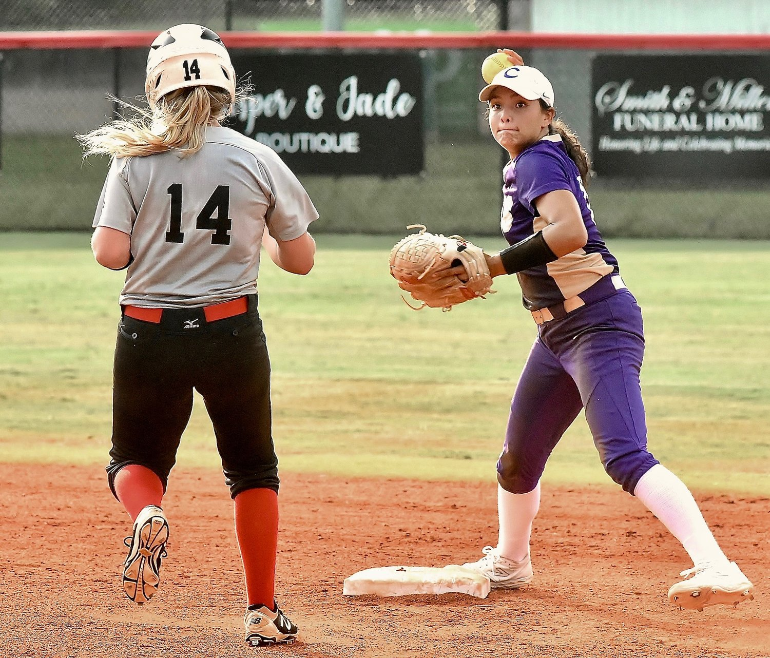 Cartersville senior shortstop Cio Seigler gets a forceout at second base but is unable to complete the double play during Thursday's 5-4 road win over Cedartown. Seigler finished 2-for-3 with a walk and a run scored.