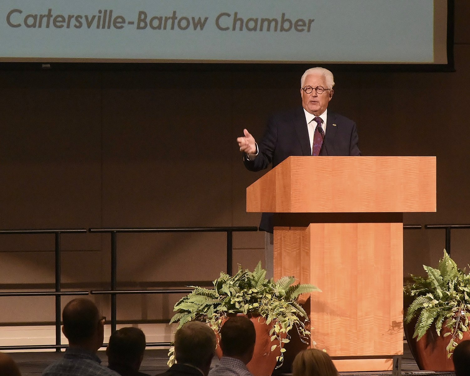 Dr. Dwight Reighard, the president and CEO of Marietta-based MUST Ministries, speaks at Tuesday afternoon's Cartersville-Bartow County Chamber of Commerce quarterly luncheon.