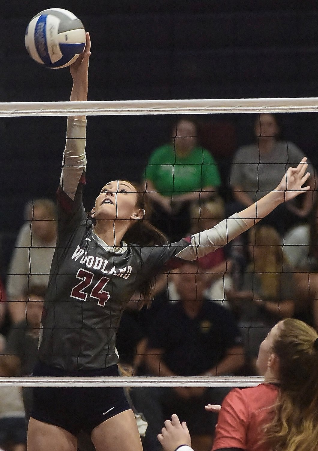 Woodland sophomore Delaney Tuplin rises up for a kill during Thursday's home match against Chattooga. The Wildcats swept Chattooga and Murray County in the tri-match.