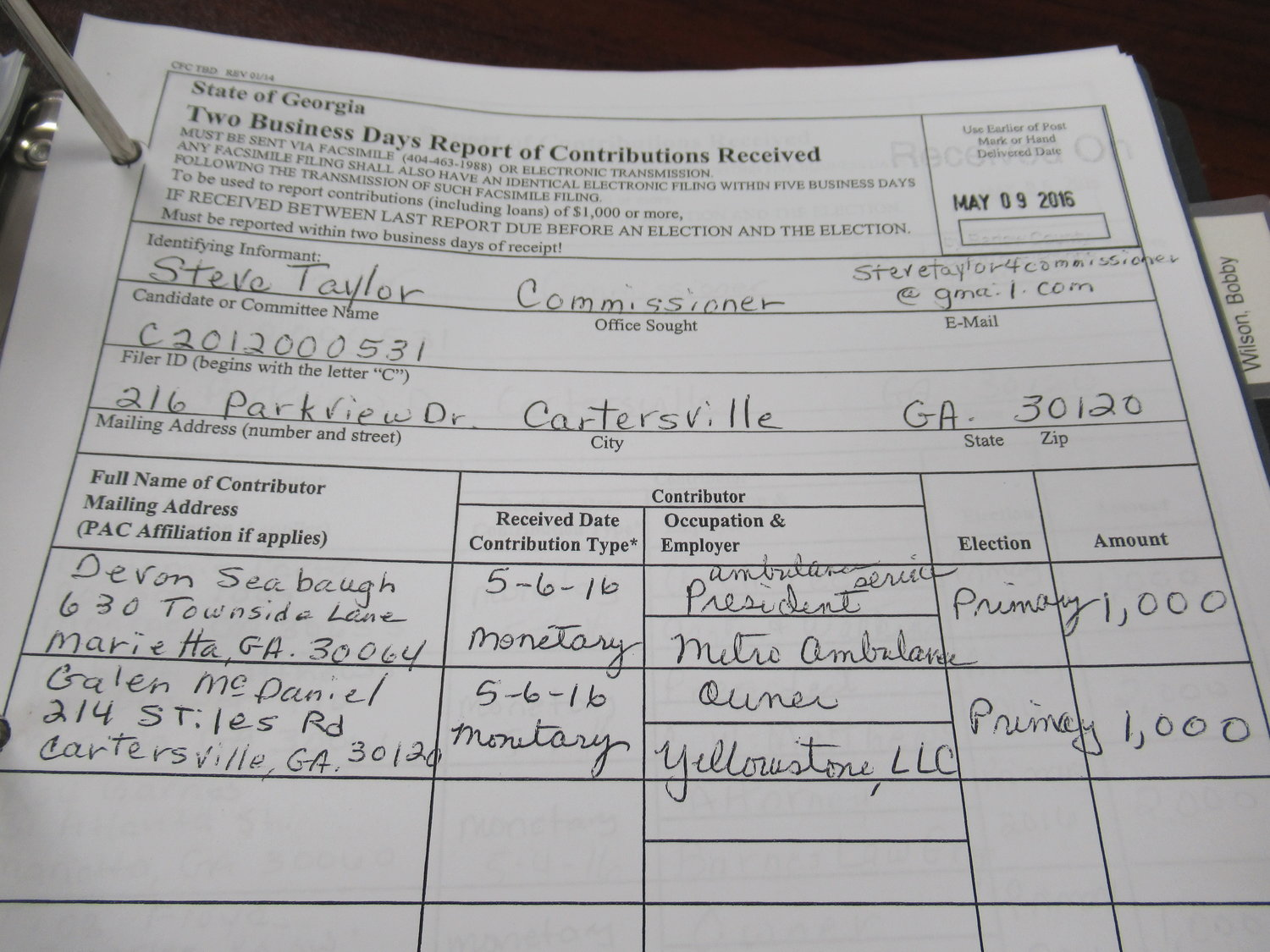Disclosure forms from 2016 indicate Devan Seabaugh, of MetroAtlanta Ambulance Service, contributed $1,000 to Bartow County Commissioner Steve Taylor's re-election efforts.