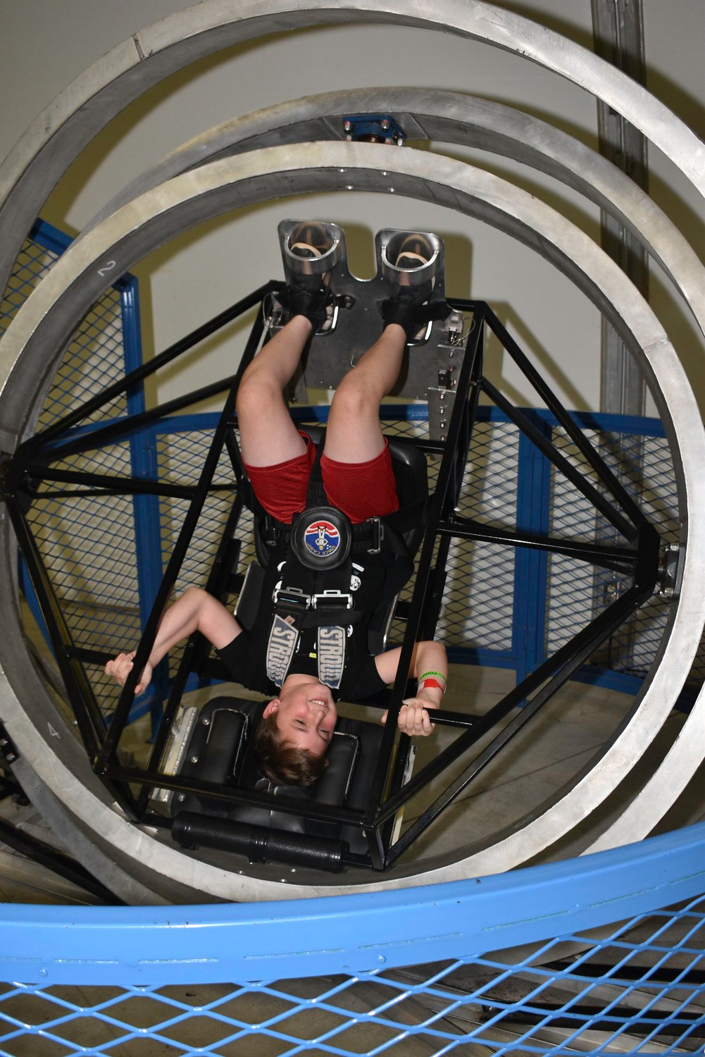 Cartersville Elementary fourth-grader Colin Jeanneret learns what it feels like to spin out of control in space in one of the simulators at Space Camp in July.
