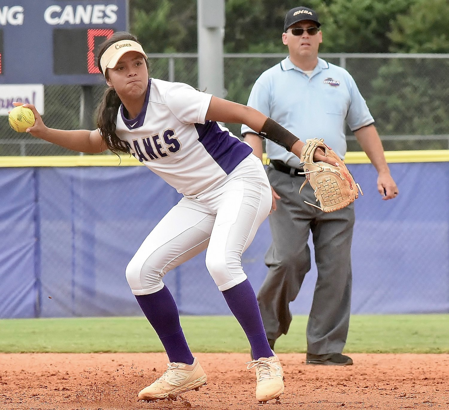 After barehanding a grounder hit to her, Cartersville senior shortstop Cio Seigler throws to first base to record the out during a game against LaGrange Saturday at Cartersville Baseball Complex.