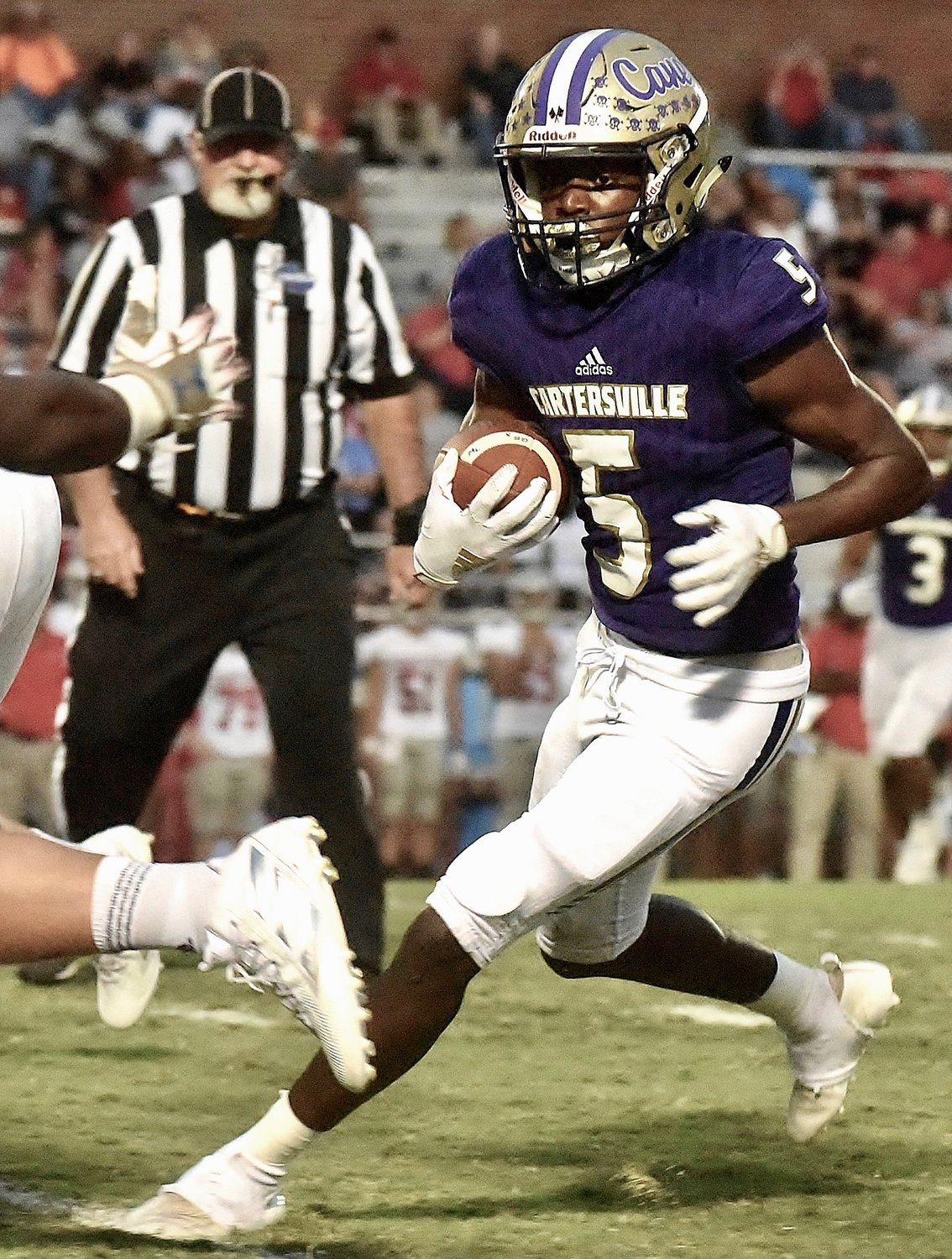Cartersville junior Devonte Ross runs with the ball during a game against Cedartown on Sept. 27 at Weinman Stadium. The Canes will go on the road Friday to take on LaGrange.