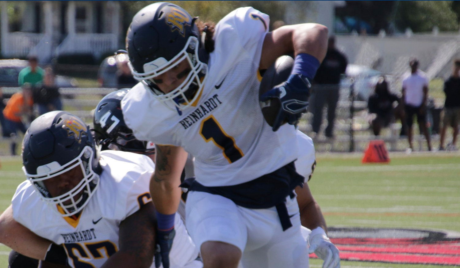 Former Adairsville Tiger Bryce Burgess carries the ball during a game for Reinhardt. Burgess ran for 55 yards on seven carries with a touchdown in a game against Kentucky Christian Saturday.