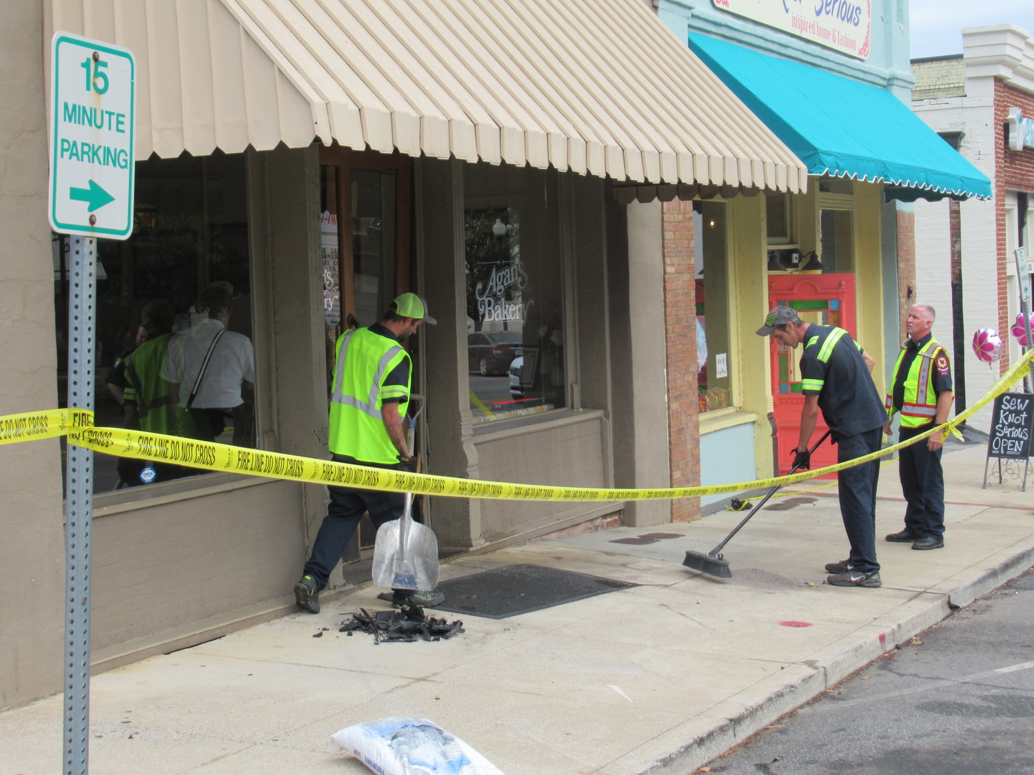 A motor vehicle crashed into the entrance of Agan's Bakery off Main Street in downtown Cartersville Tuesday afternoon.