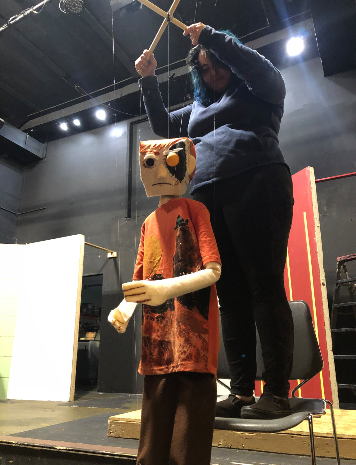 Taylor Tanner, who portrays Laertes, operates a custom handmade marionette created by local artist Zach Davis.