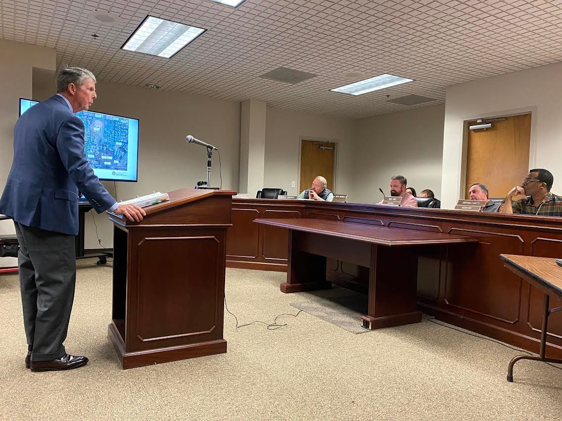 Local attorney Harry B. White speaks before the Bartow County Planning Commission at Monday evening's public hearing.