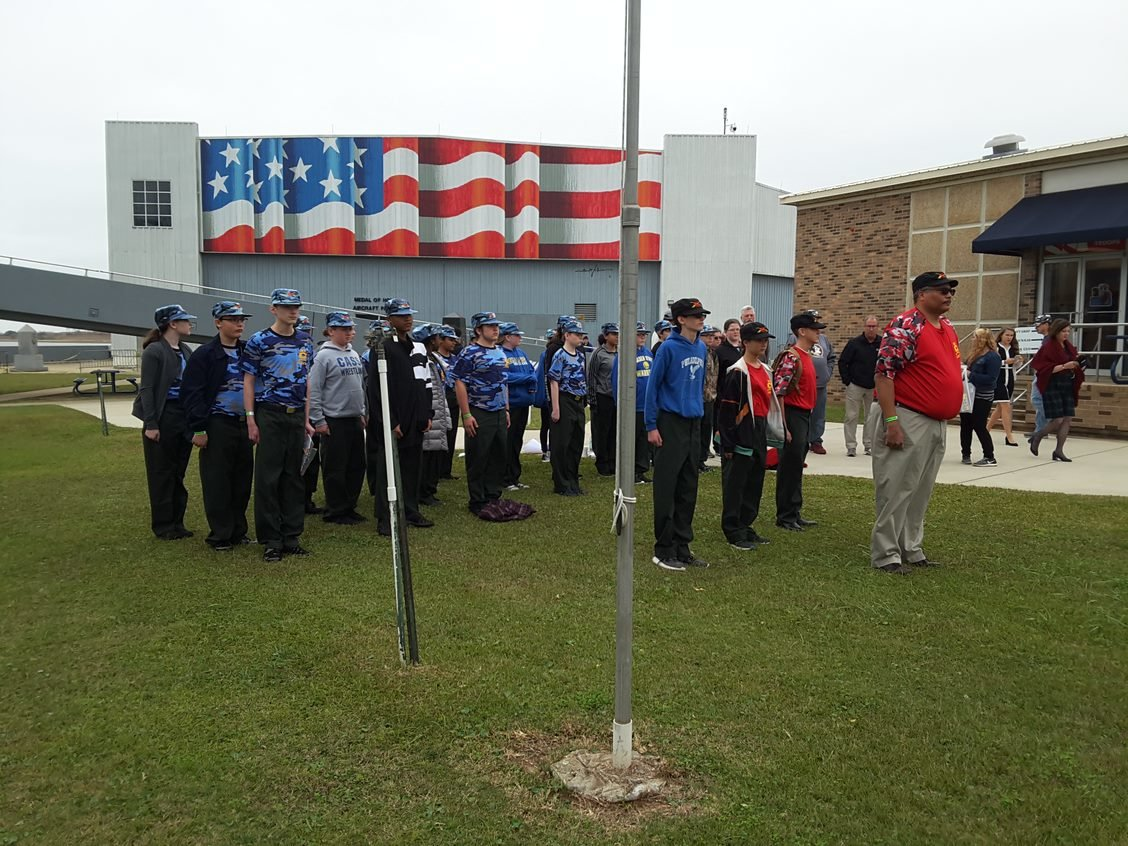 Cass Middle School's JROTC sea cadets stand in honor formation during Pearl Harbor Day activities at the USS Alabama Battleship Memorial Park in Mobile last month.