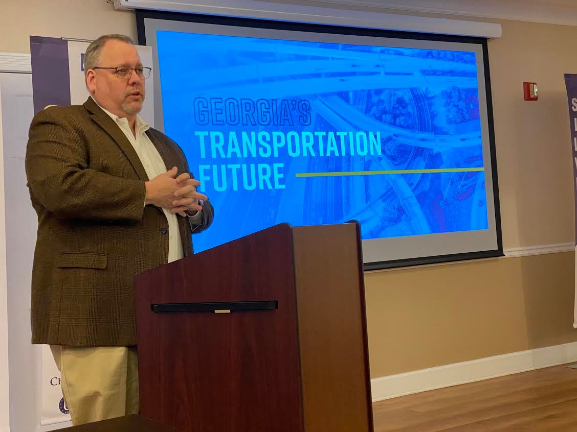 Bartow County Administrator Peter Olson speaks at Monday morning's Cartersville-Bartow County Chamber of Commerce event.