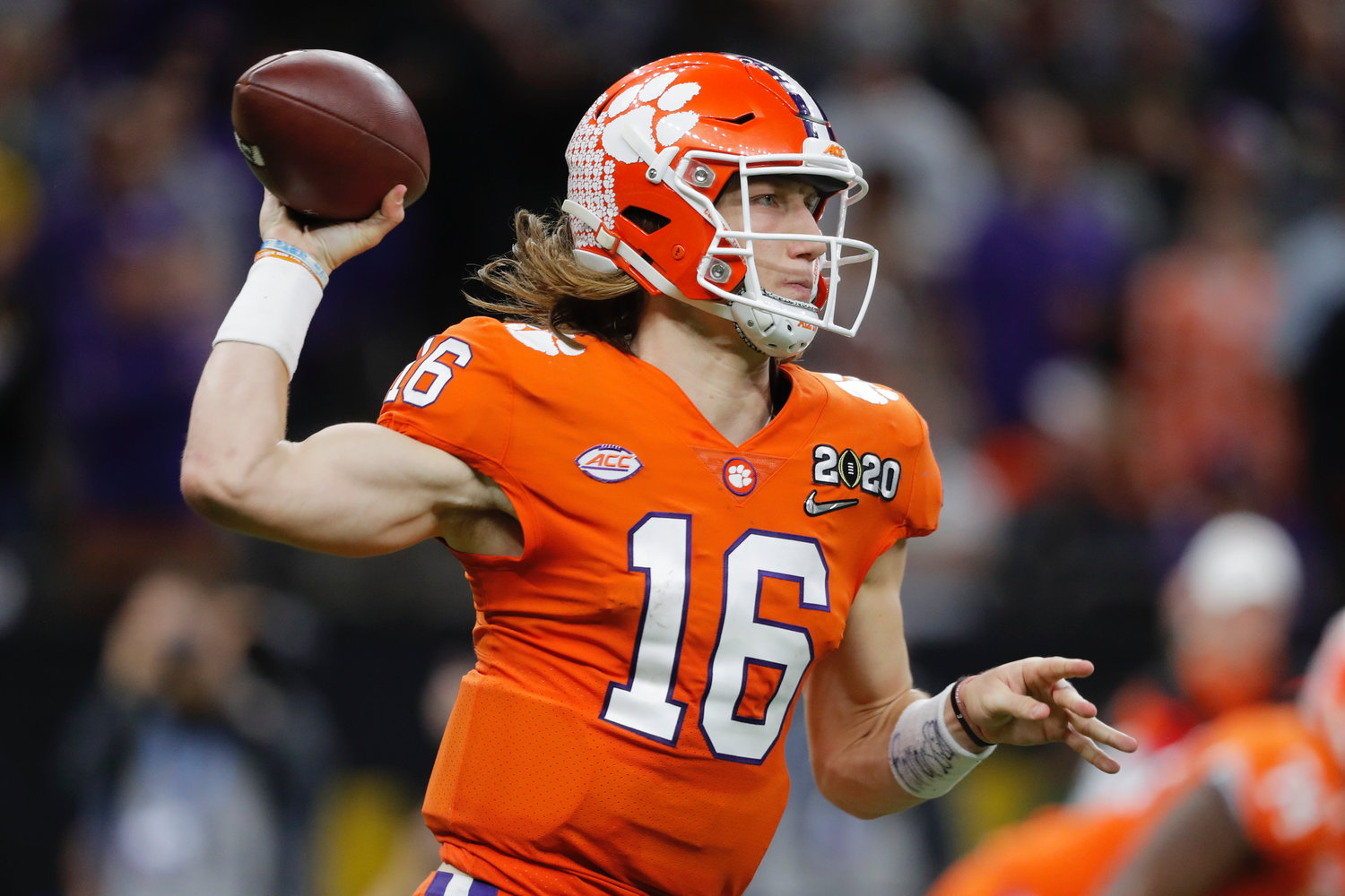 Clemson quarterback and Cartersville graduate Trevor Lawrence passes against LSU during the national championship game on Jan. 13 in New Orleans.
