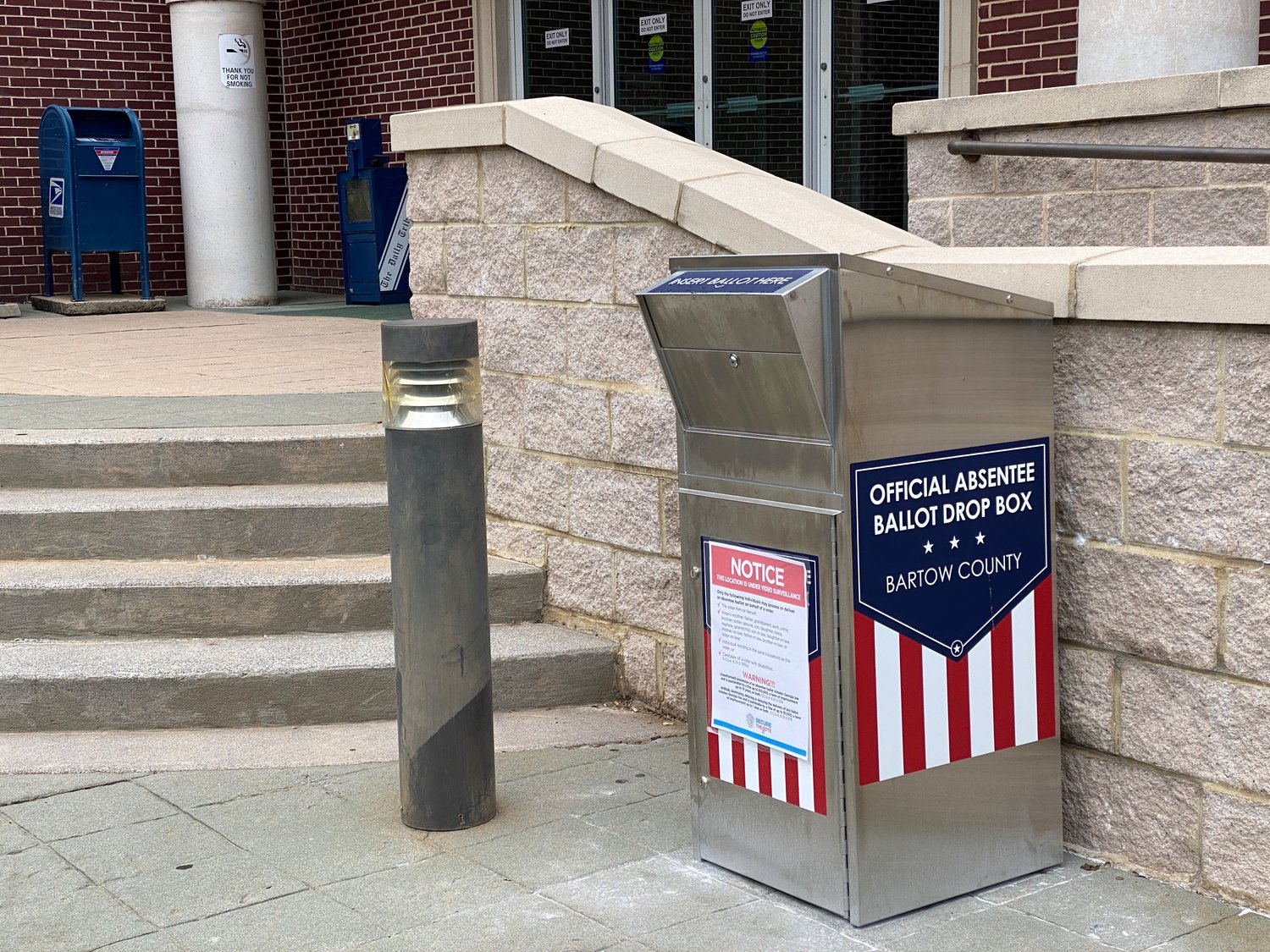 A ballot drop box stationed outside the Frank Moore Administration and Judicial Center in Cartersville.