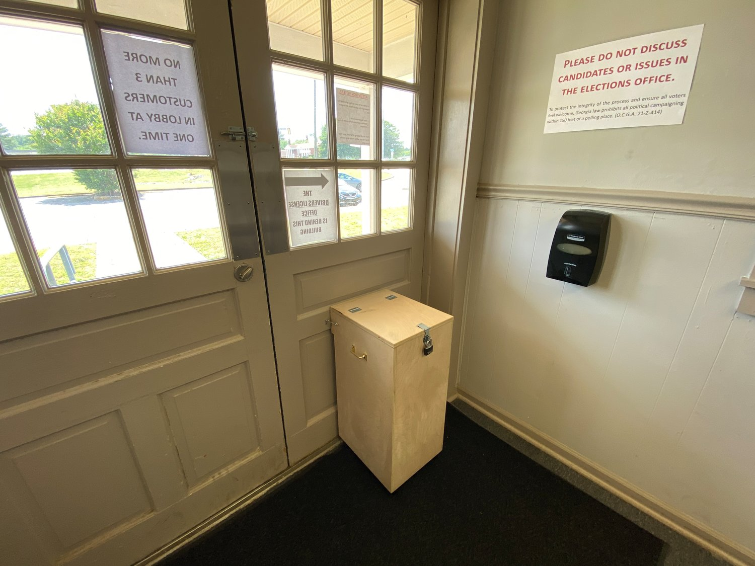 A ballot drop box installed inside the Bartow County Board of Elections and Voter Registration headquarters in Cartersville.
