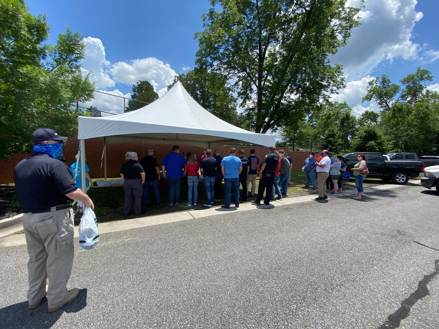 Cartersville Police Department personnel participated in a giveaway event Friday afternoon.