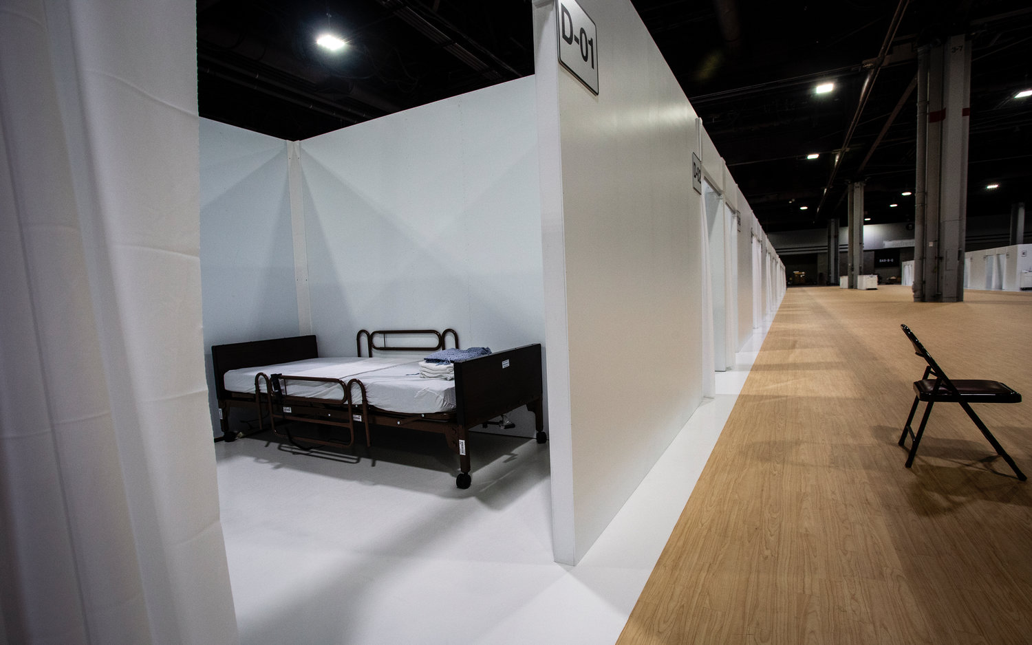 One room at a massive temporary hospital is shown at the Georgia World Congress Center on April 16 in Atlanta.