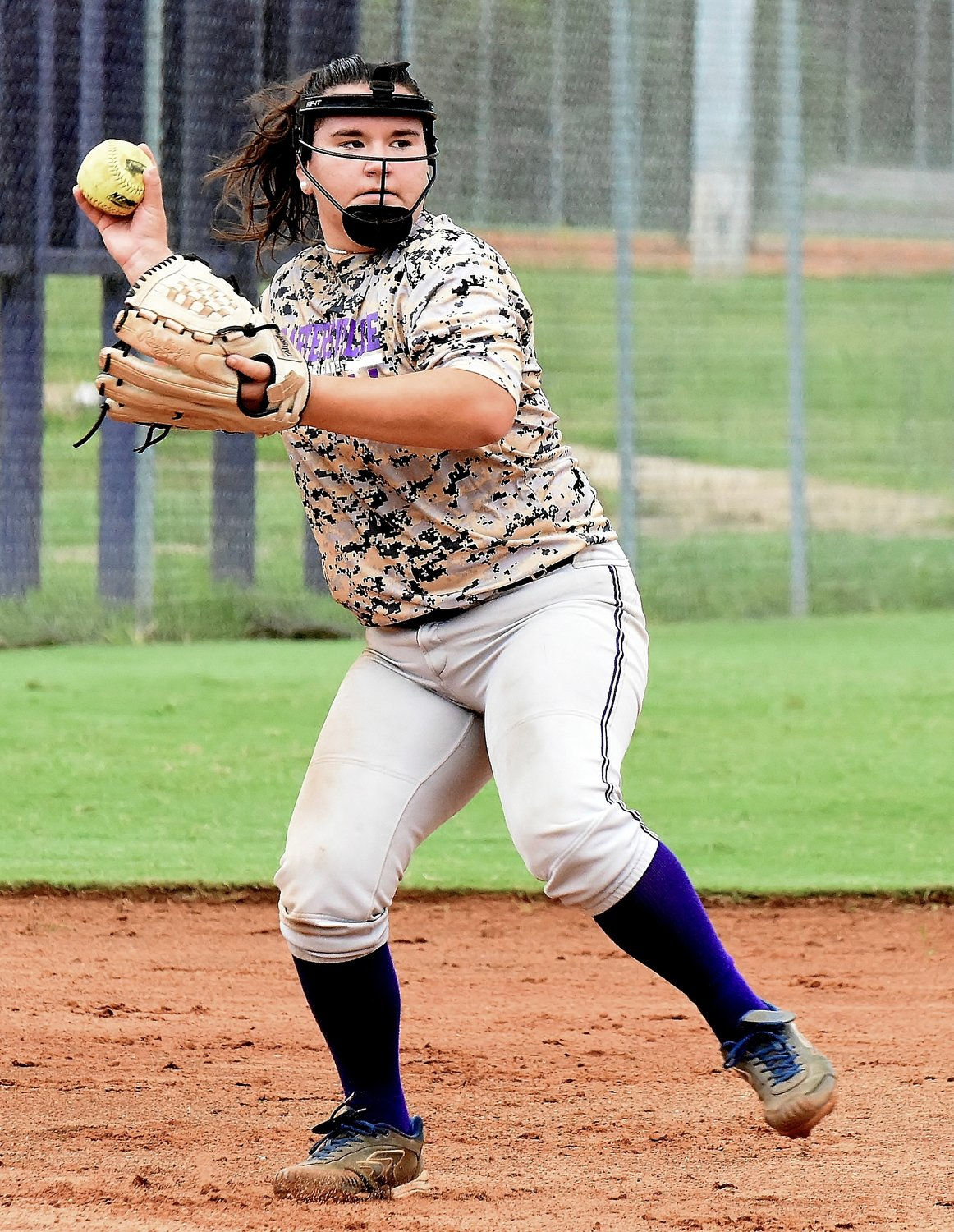 Cartersville High rising sophomore McKinley Chada prepares to throw across the diamond during a workout Thursday.
