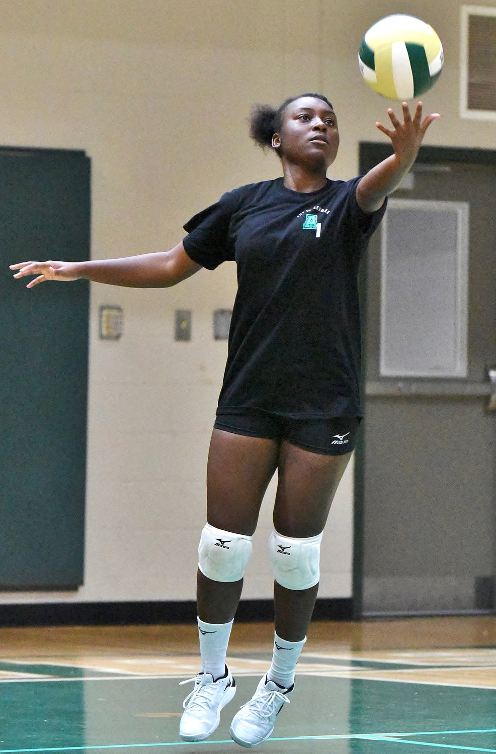 Adairsville senior Aaliyah Applin performs a jump serve during Thursday's home scrimmage against Christian Heritage.