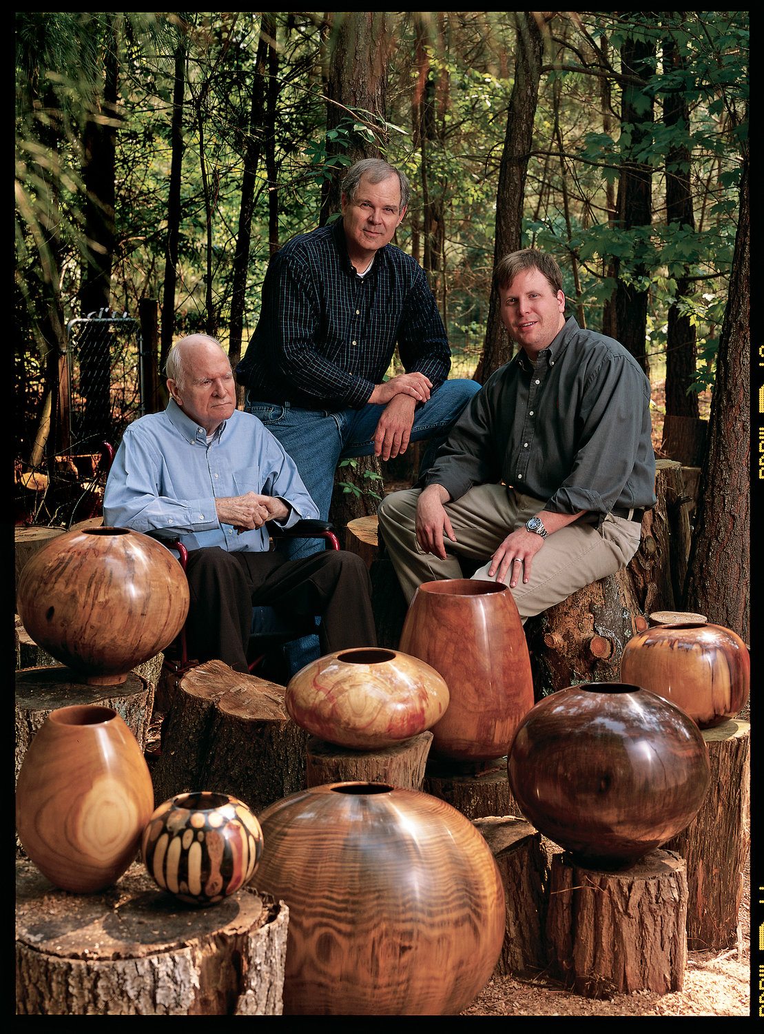 The Moulthrop family's three-generations of woodturners include Edward, his son Philip and grandson Matt.