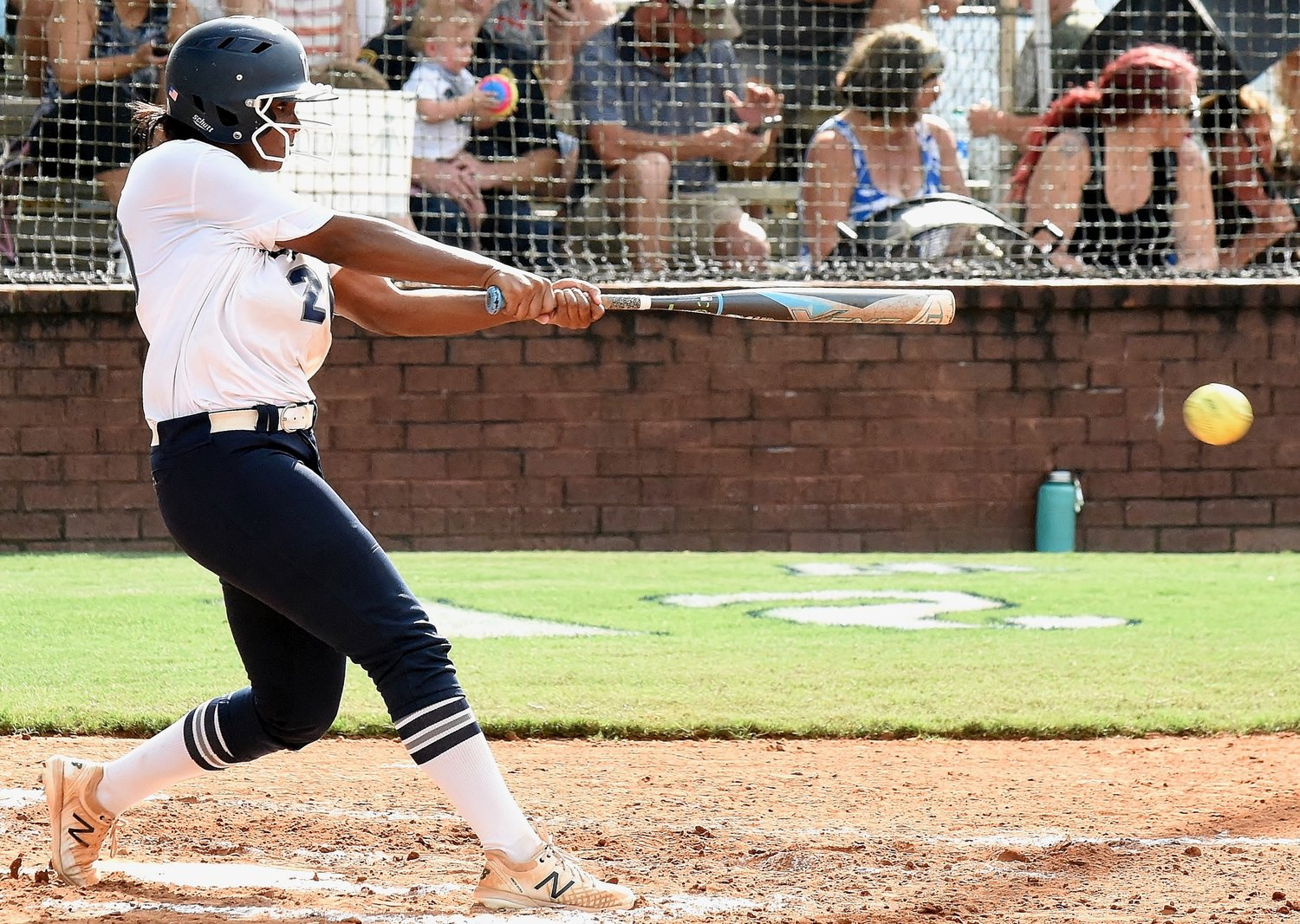 Woodland junior Michiah Hicks hits an RBI double during Game 1 of a Region 7-AAAAA doubleheader against Cartersville Tuesday at home. She finished 3-for-6 across both games with a walk, a run scored and two RBIs, as the Wildcats swept the Canes.