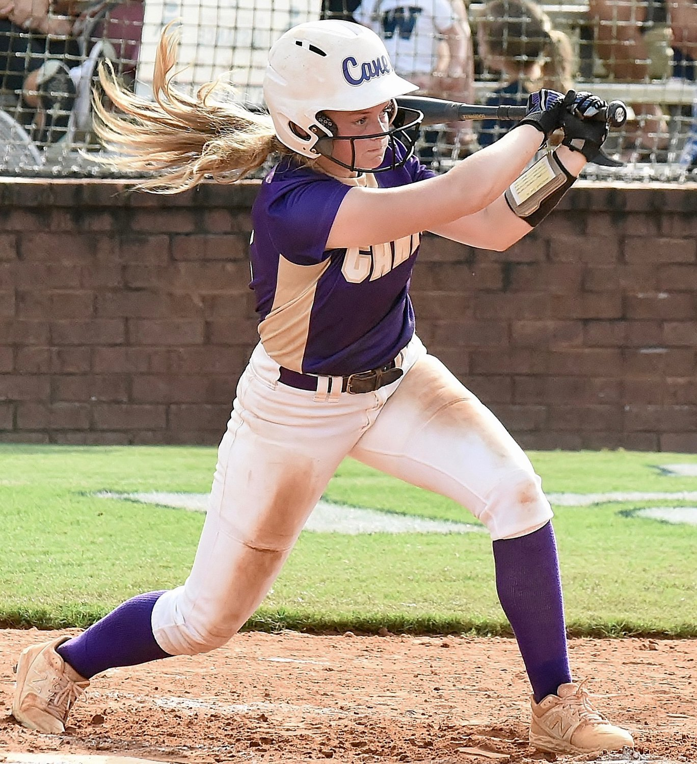 Cartersville sophomore Ava Perkins records a base hit.