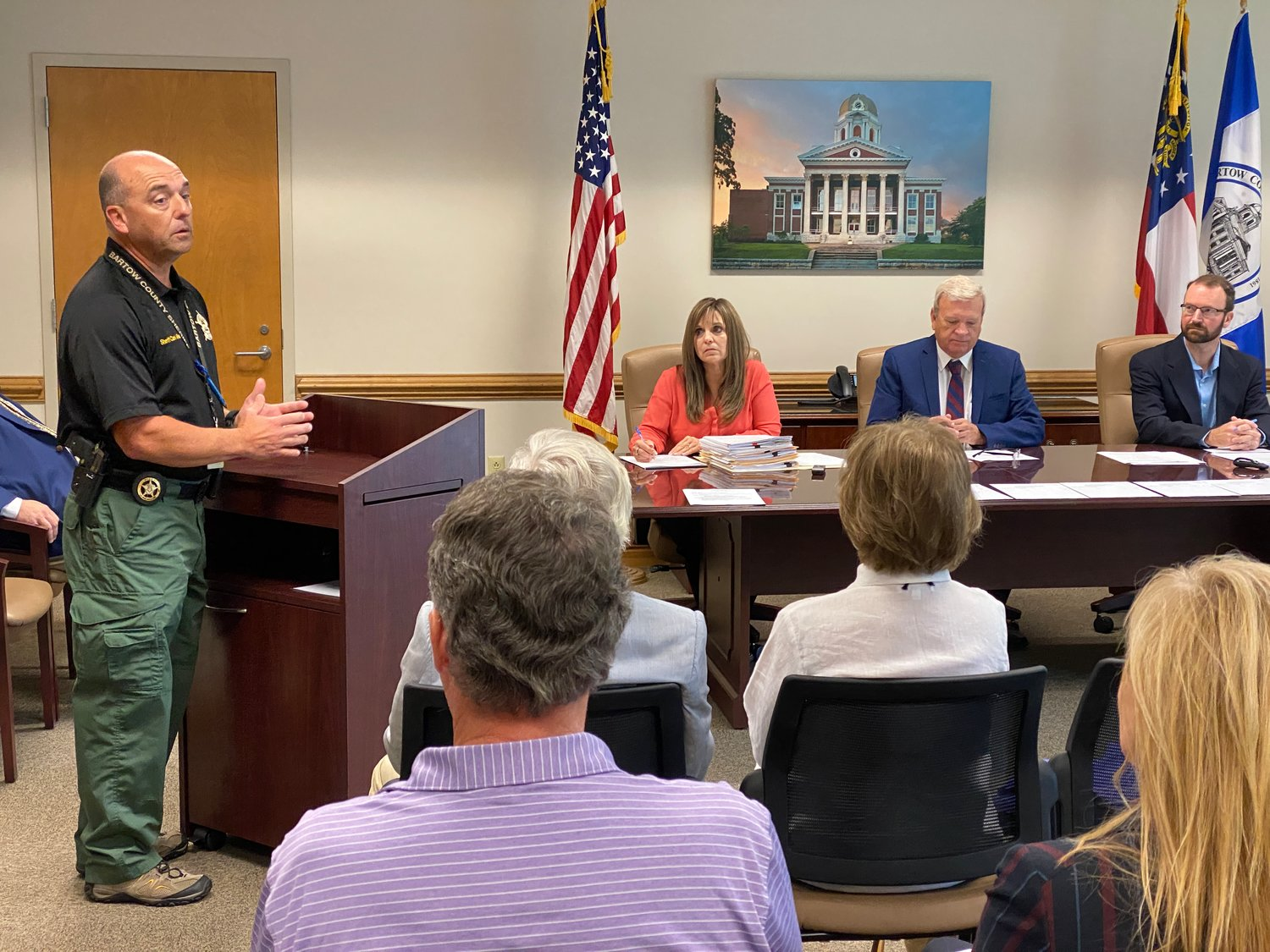 Bartow County Sheriff Clark Millsap speaks at Wednesday morning's public meeting.
