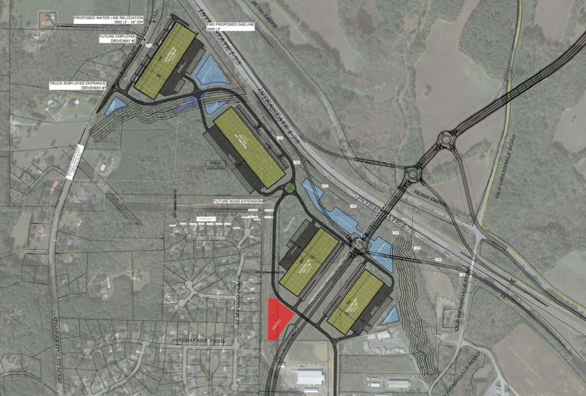 A site plan for the proposed Bartow Transwestern Industrial Park.