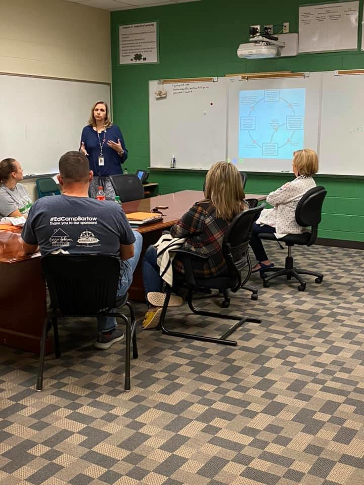 Sharon Collum, standing, executive director of professional learning and federal programs for Bartow County Schools, leads one of the sessions at Wednesday's EdCamp at Cloverleaf Elementary School.