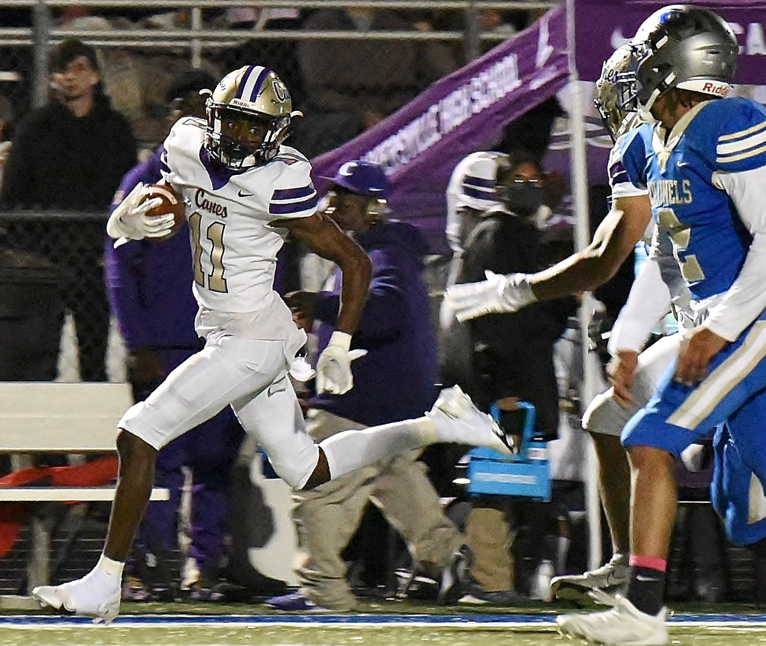 Cartersville senior Devonte Ross heads towards the end zone for one of his three touchdowns against Cass during a Region 7-AAAAA game Friday at Doug Cochran Stadium.