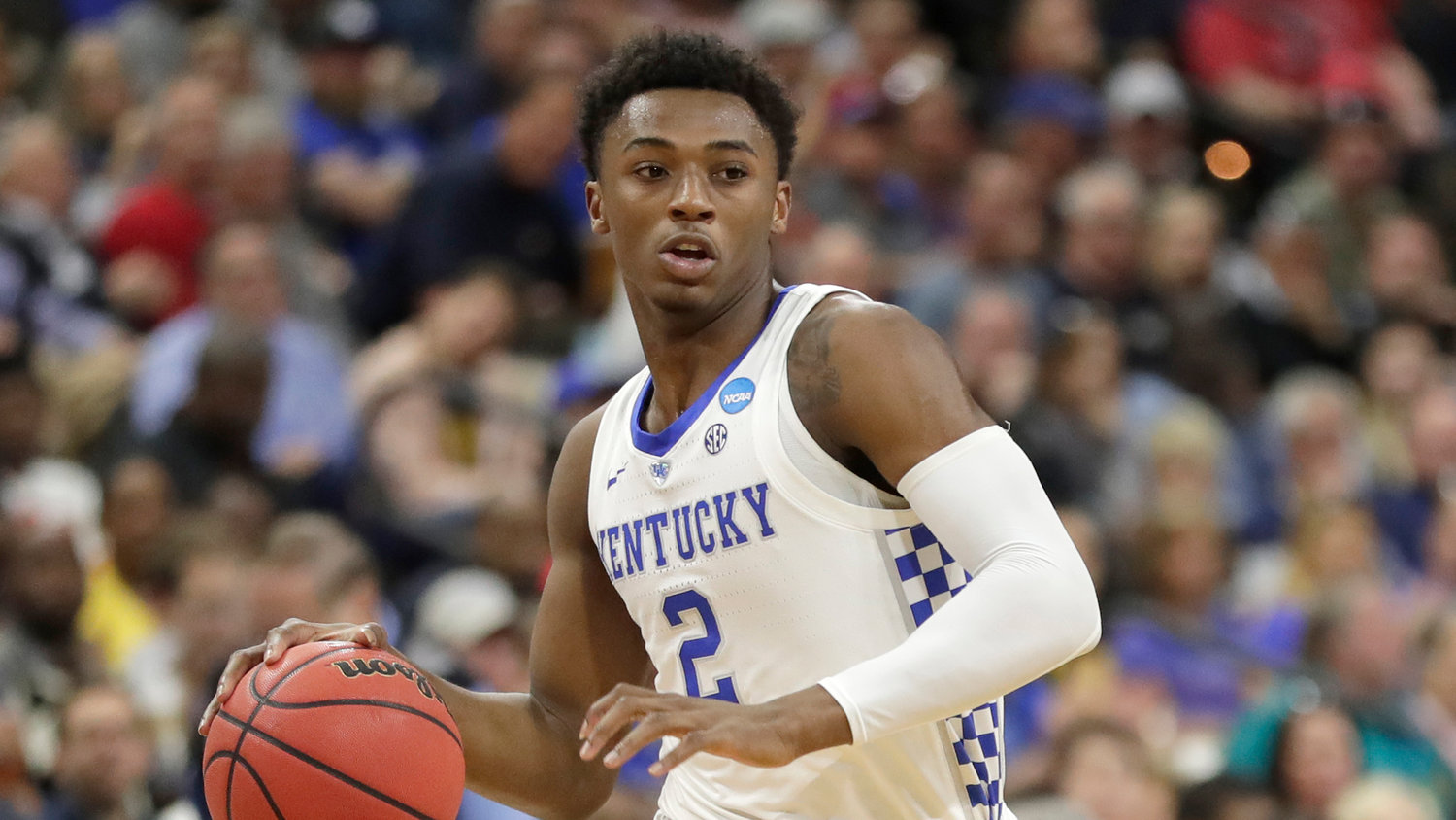 Kentucky's Ashton Hagans moves the ball against Wofford during the first half of an NCAA Tournament second-round game March 23, 2019, in Jacksonville, Florida.