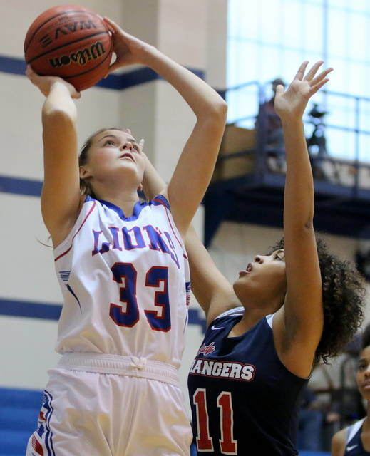 Durant Lady Lion Annalee Jones prepares to shoot the ball during a game Saturday in Durant when they defeated Tulsa Hale.