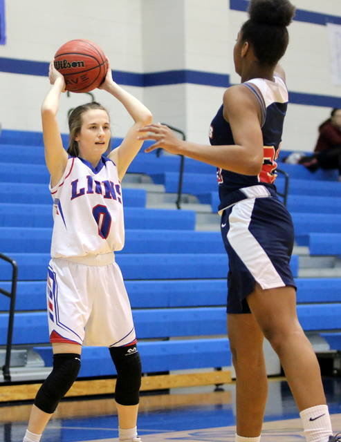 Shown is Durant Lady Lion Deanna Wall during the game with Tulsa Hale.