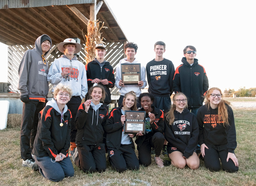 The Fort Calhoun cross-country team qualified both teams for the state meet Thursday at Sycamore Farms near Waterloo. Team members are, front row, from left, Rowan Roehr, Bria Bench, Tessa Skelton, Dala Drowne, Kaitlyn Thalman and Kylie Perfetti. Back row: Luke Gustafson, Lance Olberding, Ely Olberding, Jacob Rupp, John McKennan and Johnathon Schwarte.