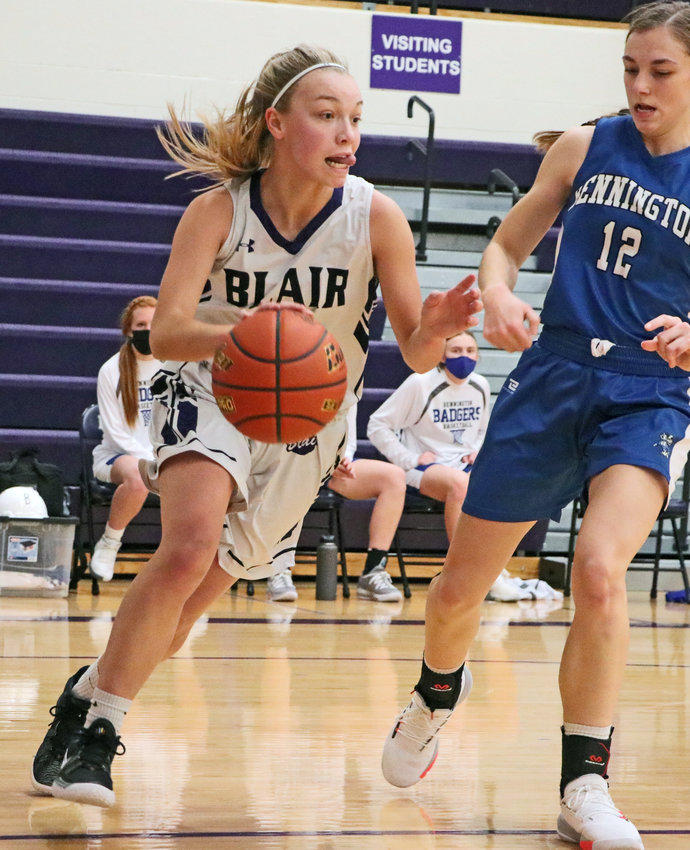 Bears freshman Leah Chance, left, dribbles baseline as Bennington's Maddy Elwood defends Saturday at Blair High School.