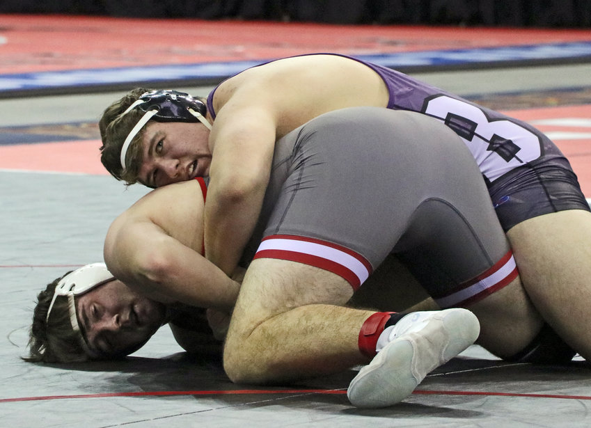 Blair heavyweight Lance Hume, top, controls his match with Dane Van Cleave of Norris on Friday during the NSAA State Championships in Omaha.