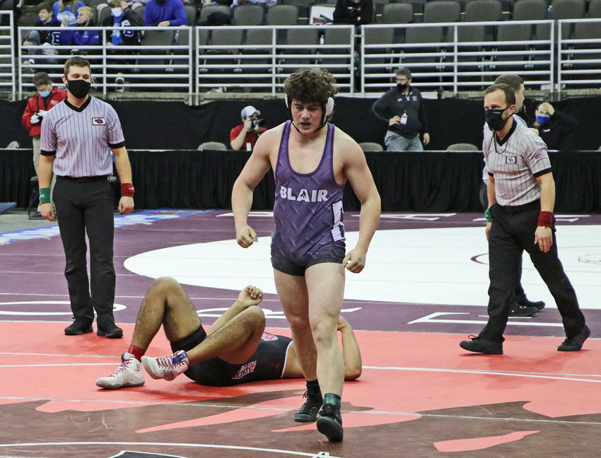 Blair senior Gabe Gaskill celebrates a pin Friday in Omaha.