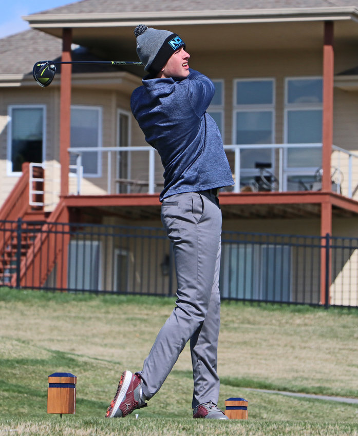 Arlington golfer Eddie Rosenthal watches his tee shot Wednesday at Stone Creek Golf Course.