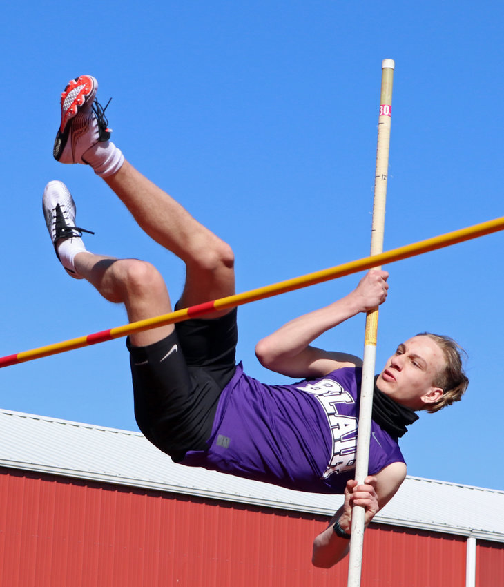 Blair pole vaulter Ethan Belsky competes Saturday at Ralston High School.