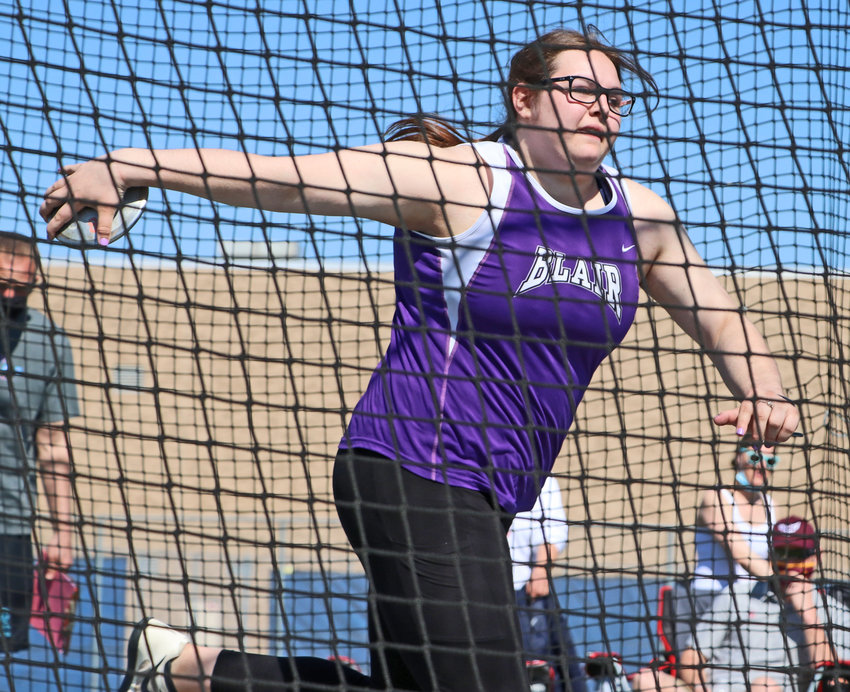 Blair senior Hailey Baker spins on her discus attempt Saturday at Ralston High School.