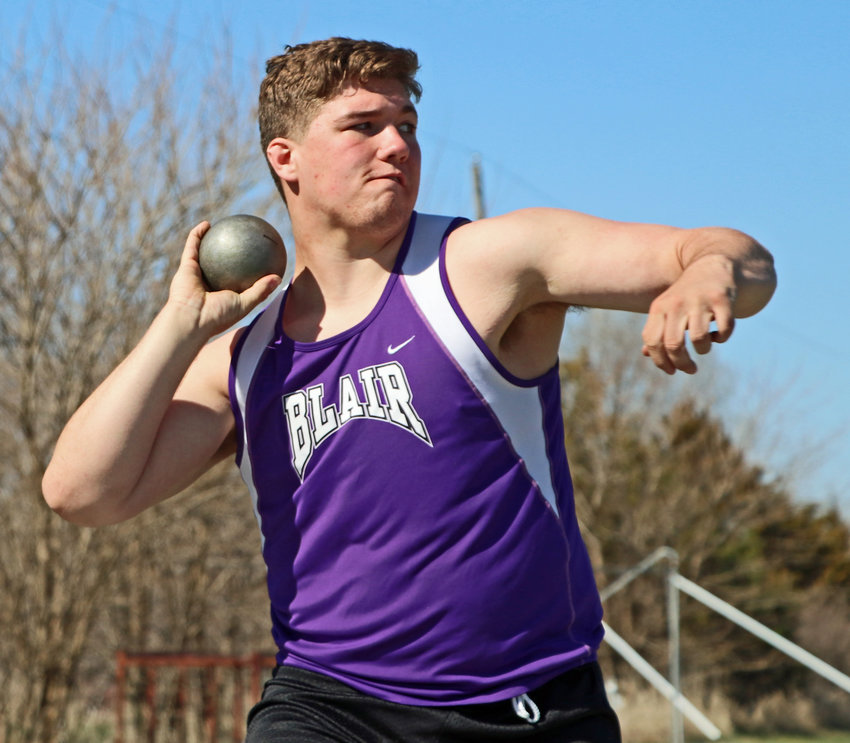 Blair senior Lance Hume competes in shot put Saturday at Ralston High School.