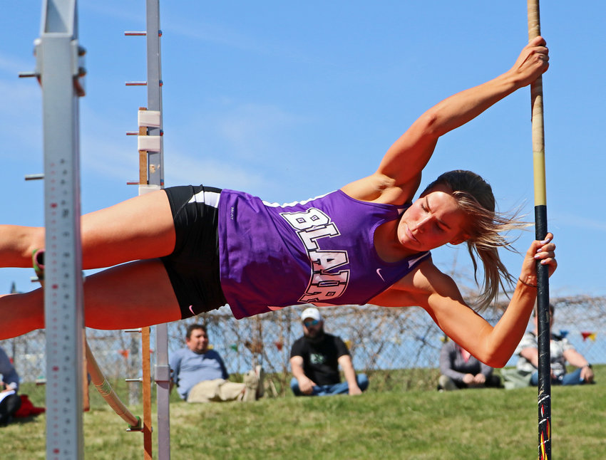 Blair's Greta Galbraith clears the pole vault bar Saturday at Ralston High School.