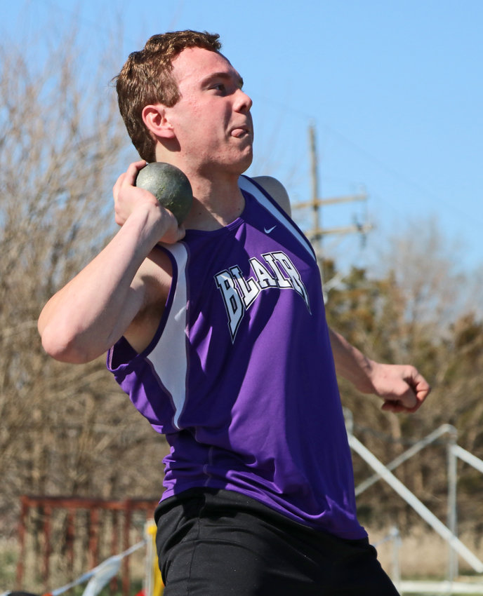 Blair thrower Clayten Roth competes in the shot put Saturday at Ralston High School.