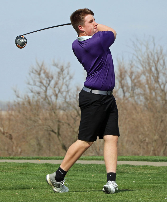 Blair's Cole Truhlsen hits a tee shot on No. 3 Tuesday at River Wilds Golf Club.